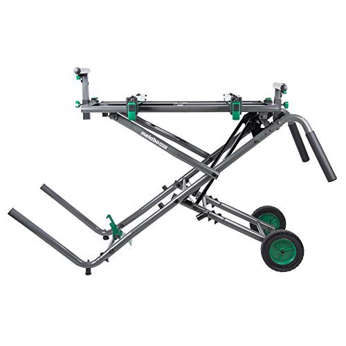 Metabo HPT Miter Saw Stand, Fold and Roll, Large 8-Inch Rubber Wheels, Heavy-duty Tubular Steel Construction, Universal (UU240R)