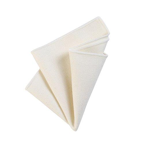 DonDon Fazzoletto da taschino uomo 23 x 23 cm in cotone auto piegante stile tweed monocromatico bianco