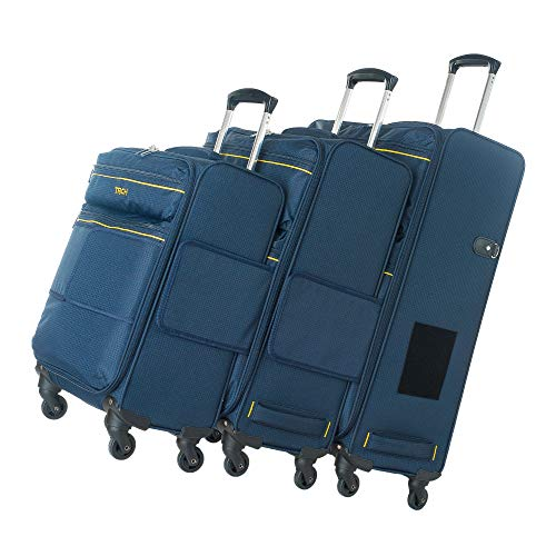 TACH LITE 3-Piece Softcase Connectable Luggage & Carryon Travel Bag Set | Rolling Suitcase with Patented Built-In Connecting System | Easily Link & Carry 9 Bags At Once (navy blue)