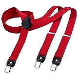 DonDon tirantes estrechos 2,5 cm para hombres con 3x clips en forma de Y - elástico y longitud ajustable - rojo
