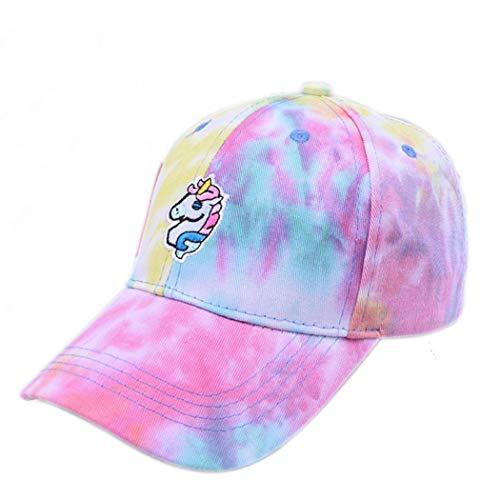 Gorra De Béisbol De Algodón Bordado del Unicornio Unisex del Sombrero De Sun Tie-Dye Snapback De Muchachas De Las Mujeres