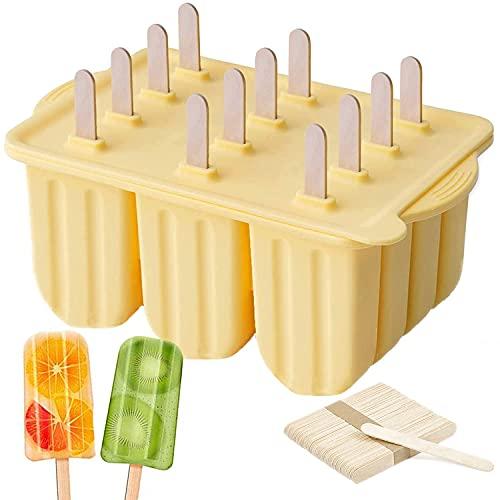 Hopeas Eisformen Silikon 12 Stück Eisformen EIS am stiel BPA Frei Popsicle Formen mit Deckel, mit 50 holzstiel,Gelb