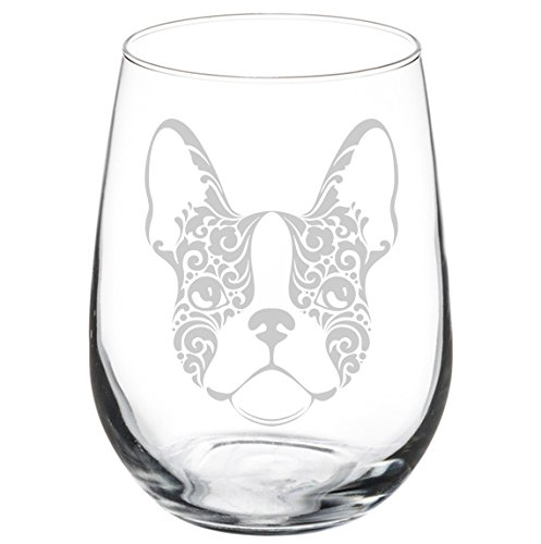 Wine Glass Goblet Frenchie French Bulldog Face Floral (17 oz Stemless)
