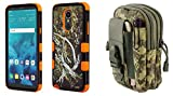 TUFF Camo Series Compatible with LG Stylo 4+ Plus, LG Stylo 4 with Rugged Military Grade Protector Armor Case (Orange Camo), Travel Carrying Pack (ACU Camo) and Atom Cloth