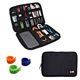 BUBM Universal Electronics Accessories Organizer, Travel Gear Carry Bag for Cables, USB Hard Drive, Plug, External Flash Drive and More, Lightweight and Compact (Medium-Black)