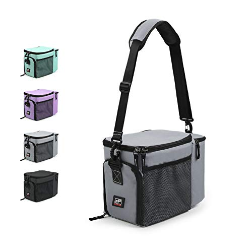 RitFit Insulated Lunch Bag, Meal Prep Lunch Bag/Box - Dual Compartment Large Capacity for Lunch, Picnic, Camping - with Adjustable Strap and Two-Side Pockets (Grey)