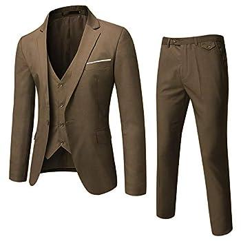 WULFUL Men's Suit Slim Fit One Button 3-Piece Suit Blazer Dress Business Wedding Party Jacket Vest & Pants  Brown Large