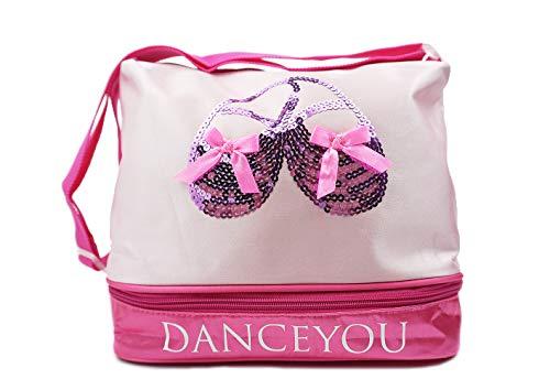 DANCEYOU Bolsa de Ballet Danza Deportes para Niña Tote Bolsa de satén Personalizada Bordada Princesa Niña Infantil
