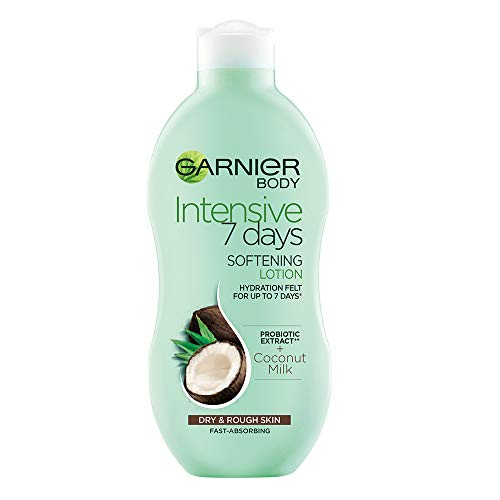 Garnier Intensive 7 Days Coconut Milk & Probiotic Extract Body Lotion 400ml, Nourishing Moisturiser, Up to 7 Days Hydration, For Dry & Rough Skin, Fast Absorbing & Non Greasy
