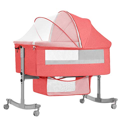 Zatnec Baby Bedside Crib Cradle,Travel Cot With Breathable Mesh Window,Easy Folding And Unfolding, Adjustable Canopy, For Newborn, 0-24 Months (Color : Pink)