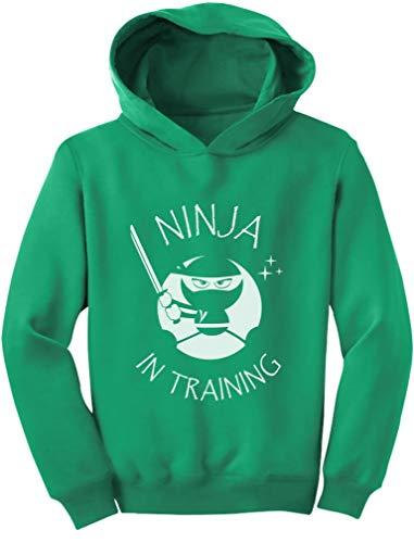 TeeStars – Ninja in Training – Roupas legais para crianças – Moletom com capuz infantil divertido, Verde, 4T
