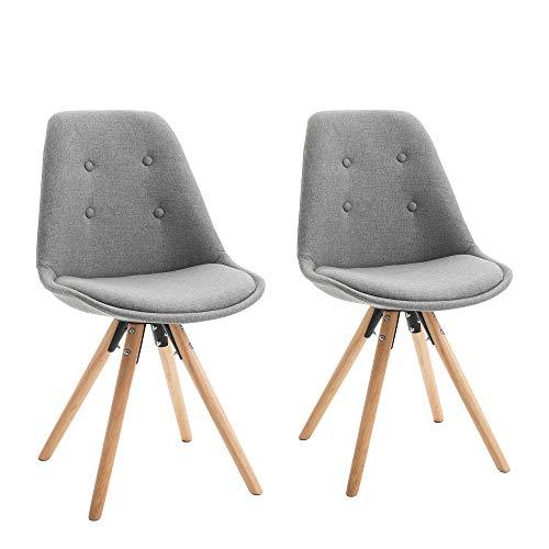 homcom Set 2 Sedie Imbottite per Sala da Pranzo con Design Moderno ed Ergonomico in Legno e Lino Grigio, 48x56x87cm