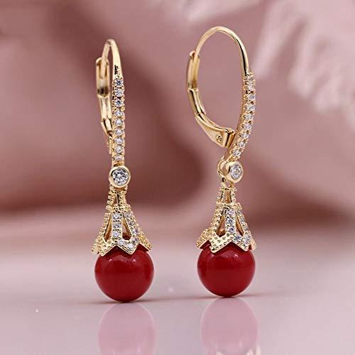 CHQSMZ Pendiente Nuevo AB Shell Pearl Pendientes Largos 585 Oro Rosa Circón Natural Mujeres Boda Joyería de Moda Fina Pendientes Colgantes románticos Coral Red
