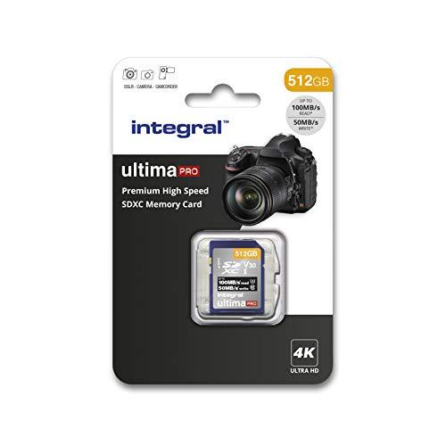 Integral - Scheda SD da 256 Gb, memoria ad alta velocità 4 K, SDXC fino a 100 MB/s, V30 UHS-I U3 512 GB. 512 GB