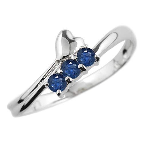 [リュイール] リング 指輪 サファイア 9月 誕生石 プラチナ Pt900 スリーストーン ハート レディース 8号