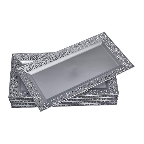 """DISPOSABLE LACE TRAYS  for Upscale Wedding and Dining  6 pc  Silver  14"""" x 75"""""""