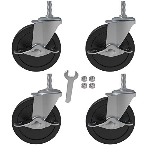 4x 4 Inch Brake Threaded Stem Casters 3/8'-16x1', Swivel Rubber Caster Wheels with Nuts Lock, Industrial Replacement for Carts Workbench Trolley