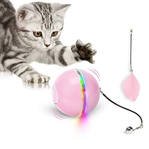 Bola de Juguete para Gatos con luz LED y Menta gatera, Campanilla interactiva, Juguete Giratorio 360°, Juguete Inteligente para Mascotas, Recargable por USB