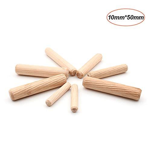 KKmoon 100pcs Dowel houten deuvels gefluit houten deuvels Set van 100pcs Dowel pinnen gefluit pinnen voor meubelkasten 10mm x 50mm