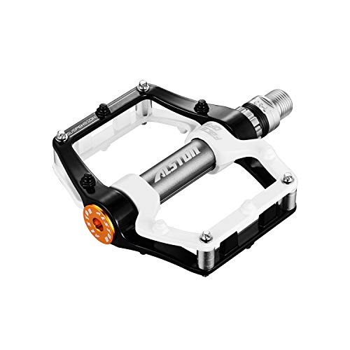 Alston Road Bicycle MTB Aluminum Strong Pedal, Super Powerful CR-MO 9/16' Spindle, Three Pcs Ultra Sealed Bearings FACE Off Pedals (Black)