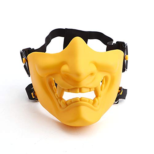 Anyoupin Airsoft Half Face Protective Masks,Army Fans Supplies for Halloween Airsoft Paintball CS Game Cosplay and Party(Yellow)