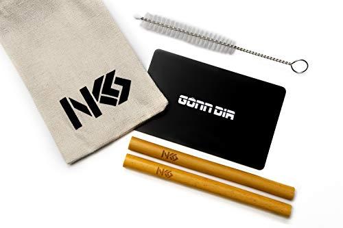 NKS Organic Sniffer, 2 Tubos Inhalador de Bambú, Bolsa de Lino, NKS-Tarjeta