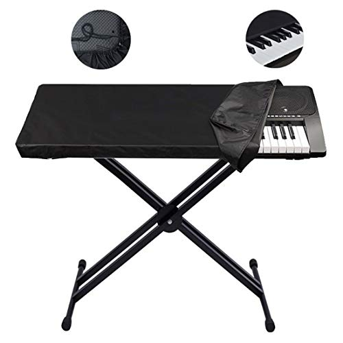 88 Keys Piano Keyboard Cover Electronic Digital Piano Keyboard Dust Cover, Waterproof Dust Proof Keyboard Bags Cases Covers, with Elastic Cord Locking Clasp (Black, 124x49x36cm/48.8x19.3x14.2inch)