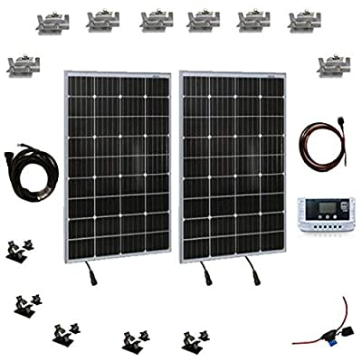 200W Solar Panel Starter Kit - 12v Monocrystalline Portable Mono Solar Panel Starter Kit w/ 3 ft 11AWG Cable Set, 30A PWM Controller w/LCD - Van Campers, Car Roof, Boat- SereneLife SLSPSKT200 (2 Pcs)