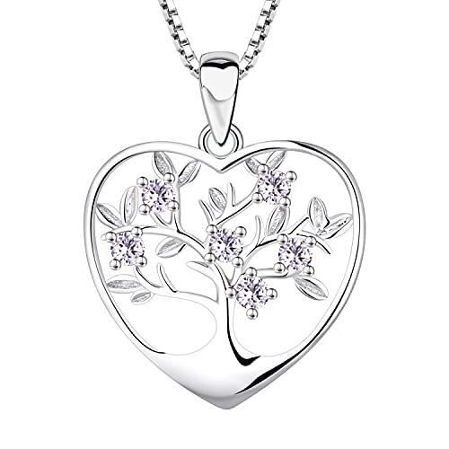 YL Collar Árbol de la Vida Plata de ley 925 con Junio Piedras de Nacimiento de Alejandrita Collar con Colgante de árbol Genealógico para Mujer