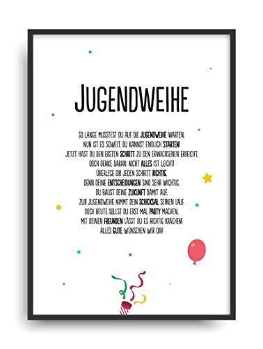 Geschenk Karte JUGENDWEIHE Kunstdruck Jugend Feier Kind Auszeichnung Bild ohne Rahmen DIN A4