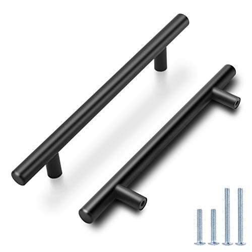 Probrico (30 Pack) Black Cabinet Pulls 5' Hole Centers - Kitchen Cabinet Handles Black,Stainless Steel T Bar Pulls for Drawer Closet Cupboard Wardrobe