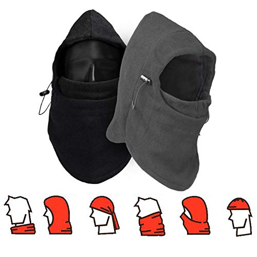 CAILI 2 Piezas Pasamontañas, Balaclava Capucha Unisex Multifunción Máscara Protector Sombrero para Invierno Ciclismo Moto Deporte Esquí al Aire Libre Cara Completa Sombrero(Negro,Gris)