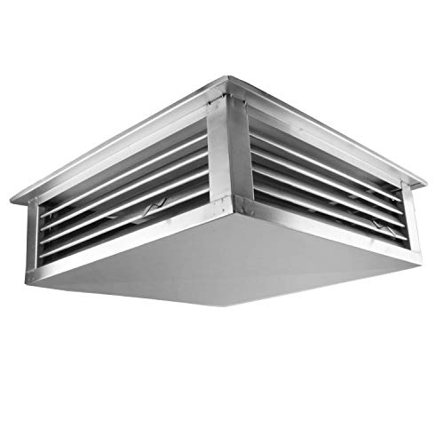 """EquipmentBlvd 24"""" Stainless Steel 4-Way Adjustable Air Diffuser for Evaporative Swamp Cooler, 26"""" Mounting Edge (24""""x24""""x6"""")"""