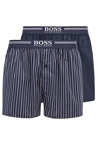 BOSS Herren 2P Boxer Shorts EW Zweier-Pack Pyjama-Shorts aus Baumwolle mit Logo-Schriftzug am Bund