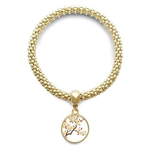 DIYthinker Womens bladeren bloem plant behang muur patroon gouden armband ronde hanger sieraden ketting