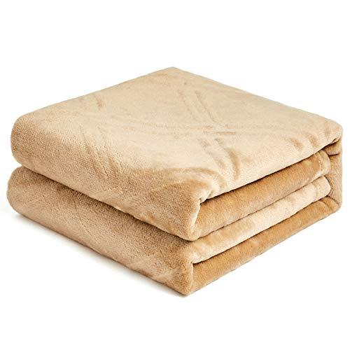 HT&PJ Super Soft Lightweight Flannel Fleece Throw Blanket Microfiber Velvet Cozy Warm Throw Blanket for Living Room (Throw 50' X 60' Beige)
