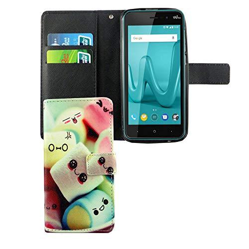 König Design Handyhülle Kompatibel mit Wiko Lenny 4 Handytasche Schutzhülle Tasche Flip Case mit Kreditkartenfächern - Marshmallows