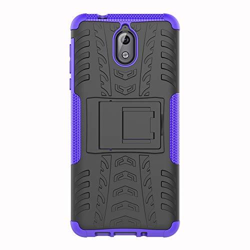 SHIEID Hülle für Nokia 3.1-Hülle Tough Hybrid Armor Hülle,Diese Handyhülle Anti-Wrestling Travel Essential Faltbare Halterung für Nokia 3.1(Purpur)