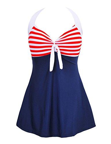 Damen Pin-Up Bikini Sets Neckholder Einteilige Bademode mit integriertem Rock