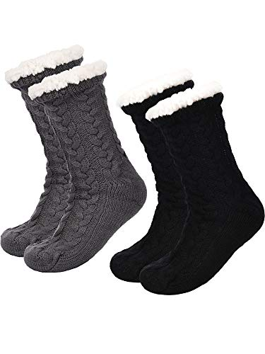 Boao 2 Paar Damen Warme Pantoffel Socken Weihnachten Fuzzy Socken Fleece-gefütterte Rutschfeste Pantoffel Socken (Schwarz und Grau)