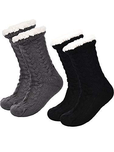 Boao 2 Paar Damen Warme Pantoffel Socken Weihnachten Fuzzy Socken Fleece-gefütterte Rutschfeste Pantoffel Socken (Schwarz & Grau)