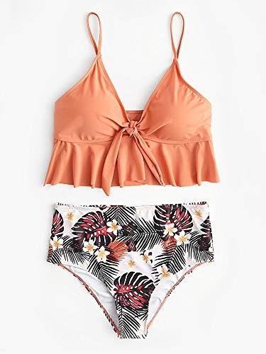 Liangcha-0401 Regalos del Amante Atractivo 4 Colores de Las Mujeres Atractivas de Volantes Hem Nudo Estampado Tropical Playa de Hawaii de Cintura Alta del Bikini (Color : Orange, Size : 6)