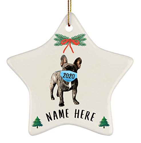 Lovesout Funny Personalized Name French Bulldog Brindle Quarantine 2020 Star Ornament Christmas Tree