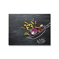 モダンなキッチンのテーマポスターハーブとスパイスキャンバスアートプリントピザ絵画壁アート写真の装飾 (Color : A, Size : 40x60cm No Frame)