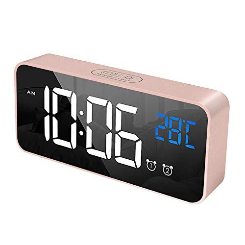 JIEOR Despertador digital con pantalla LED de temperatura, doble despertador, reloj despertador portátil con espejo con tiempo de repetición, 4 niveles, 13 modos de música