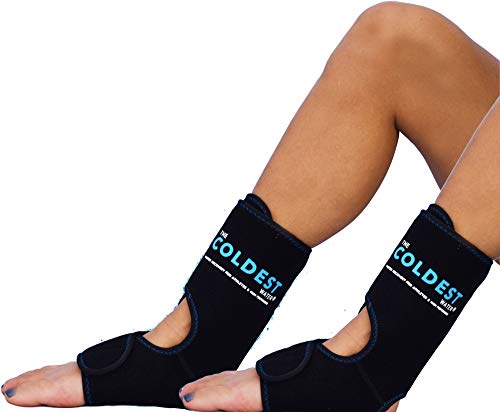 The Coldest Foot Ankle Achilles Pain Relief Ice Wrap with 2 Cold Gel Packs   Best for Achilles Tendon Injuries, Plantar Fasciitis, Bursitis & Sore Feet Built for Cold Therapy (Black XS-XL) (2-Pack)