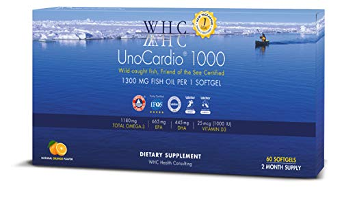 WHC - UnoCardio 1000 (60 Softgels) - 1300 mg of Pure Triglyceride Fish Oil with high Concentration Omega-3 (1180 mg), 665 mg EPA and 445 mg DHA and 25 mcg (1000 IU) Vitamin D3 per softgel