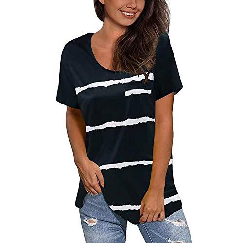 ZFQQ Primavera/Verano Camiseta de Manga Corta con Cuello Redondo y Estampado a Rayas para Mujer con Bolsillos