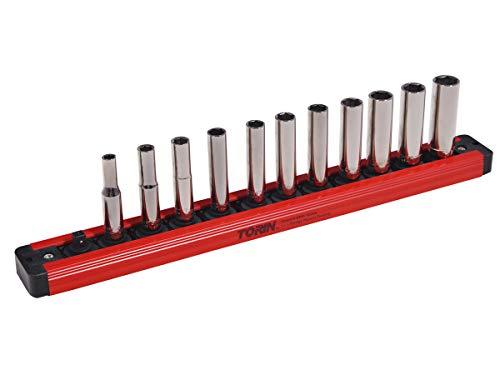 "BIG RED MTOLAS25PMT Torin Tool Storage Organizer: Magnetic Locking Socket Rack, 1/4"" Drive Sockets"