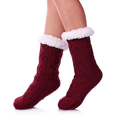 SDBING Women's Super Soft Warm Cozy Fuzzy Fleece lined Twist Non-Slip Winter Slipper Socks (Wine Red Rhombic)